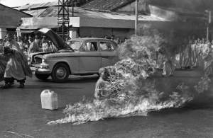 Quang Duc, a Buddhist monk, burns himself to death on a Saigon street June 11, 1963 to protest alleged persecution of Buddhists by the South Vietnamese government. (AP Photo/Malcolm Browne)